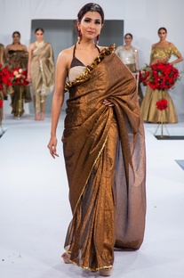 Embroidered frill sari with blouse