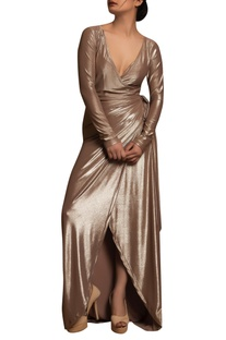 Wrap deep neck gown