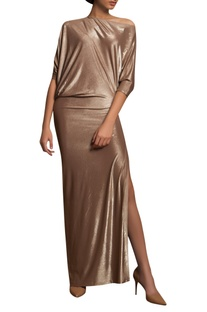 High slit draped gown