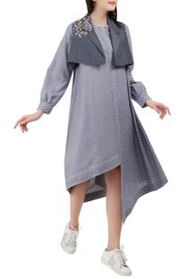 Asymmetric dress with shrug
