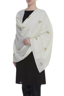 Zardosi and aari embroidered shawl