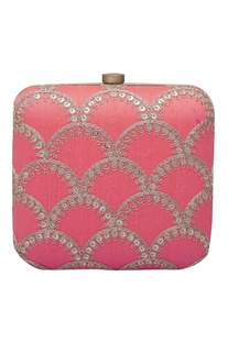 Sequin embroidered square clutch