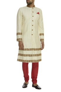Hand Embroidered Sherwani With Churidaar Pants