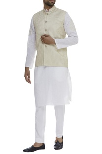 Textured Mandarin Collar Nehru Jacket