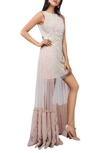 Pearl embellished dress with attached drape