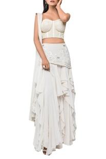 Layered skirt with embellished corset & draped sari