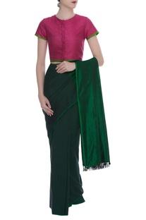 Threadwork embroidered khadi silk sari blouse