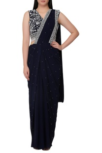Pre-pleated sari with cutdana embroidered blouse