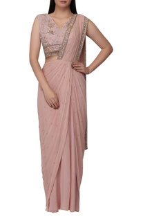 Embroidered pre-pleated sari with blouse