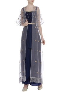 Cutdana Embroidered Crop Top With Skirt & Jacket