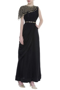 Saree Gown With Embroidered Cape & Belt
