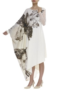 Kaftan sleeve Flower & Bird Print Dress