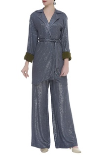 Flared Woven Sequin pants