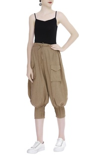 Cropped drawstring draped pants