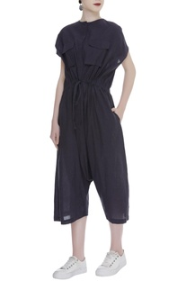 Cropped jumpsuit with chest pockets