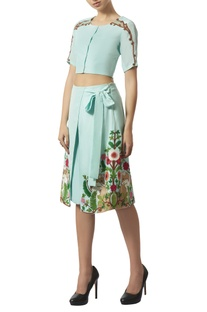 Bead embroidered crop top with wrap culottes