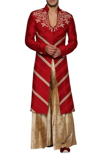 Deep Neck Embroidered Sherwani With Palazzos