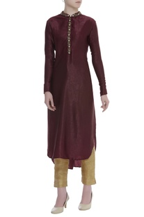 Bead embroidered placket kurta