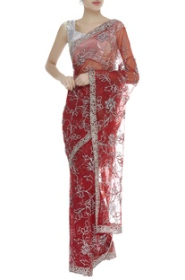 Diamante embroidered sari with unstitched blouse