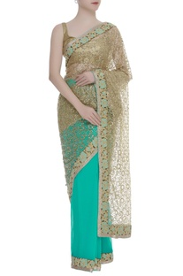 Floral thread embroidered sari