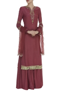 Zardozi & Sequin Embroidered kurta Sharara Set
