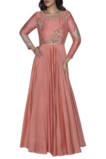 Embroidered yoke anarkali gown
