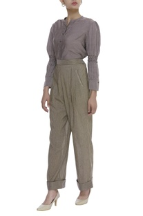 Pleated Handwoven Cotton trouser pant