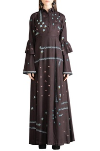Threadwork embroidered layered sleeves dress