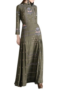 Threadwork embroidered maxi dress