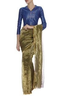 Shimmer peter pan collar sari blouse