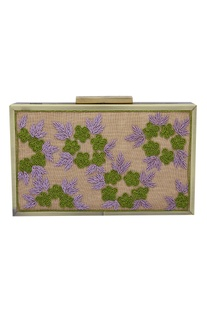Flower Zardozi Embellished Clutch Cum Sling bag