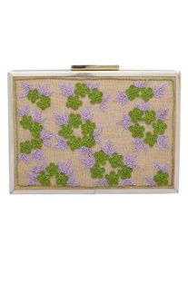 Floral Zardozi Embroidered Clutch Cum Sling bag