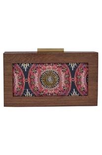 Printed Wooden Frame Clutch Cum Sling bag
