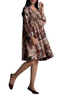 Floral print Pintucked Tunic