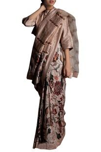 Floral Kantha Embellished Sari
