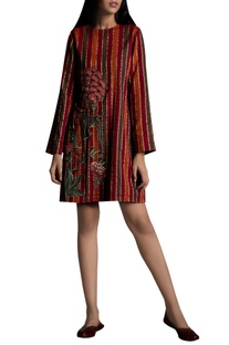 Bead embroidered short dress