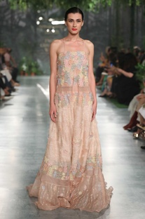 Cut work embroidered gown