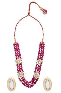 Triple Layer Bead Necklace With Earrings set