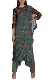 Printed draped pant sari
