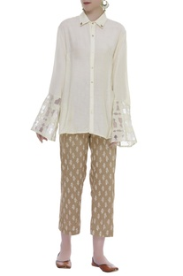 Cutwork Sleeve Shirt With Printed Pants