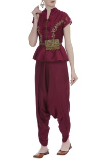 Peplum blouse With Dhoti Pants & Kamarbandh Baguette