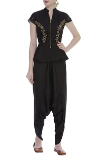 Embroidered Peplum With Dhoti Pants & Kamarbandh Baguette