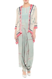 Checkered jumpsuit with tassel jacket