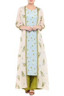 Printed kurta set with long jacket