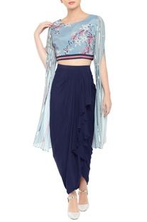 Draped dhoti skirt with printed crop top