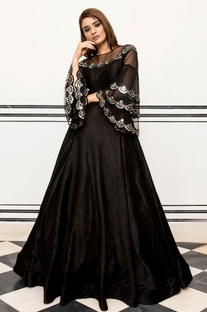Bell Sleeve Embroidered Gown