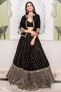 Mirror Embellished Jacket Lehenga Set