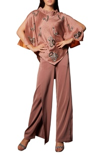 Slit Sleeves Top With Trousers
