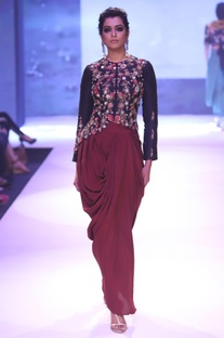 Embroidered jacket with draped dhoti pants