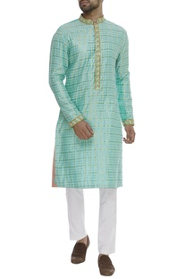 Checkered Embroidered Kurta Set